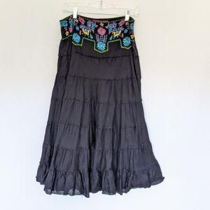 Mix Nouveau Boho Embroidered Maxi Skirt Boho